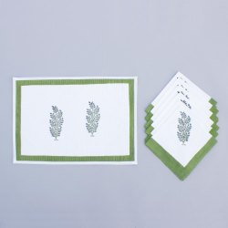 Hand Block Printed Table Mat With Napkin Set
