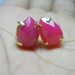 Hot Pink Chalcedony Prong Set Gemstone Earring Stud