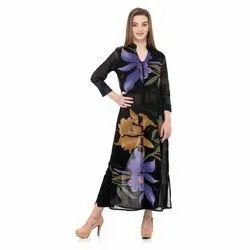Black Straight Cut Printed Dress