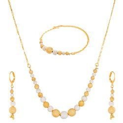 Ankur Gleaming Two Tone Ball Beads Combo Necklace Set For Women