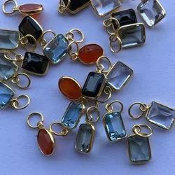 14K Solid Gold Natural Emerald Cut Topaz, Onyx, Quartz, Carnelian, Amethyst Gemstone Pendant Jewelry