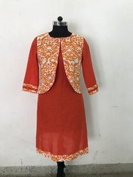 Cotton Kurti with Printed Jacket