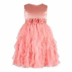 Kids Girls Orange Waterfall Dress