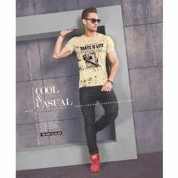 Round Mens Half Sleeve Cotton T Shirts, Size: M-XL