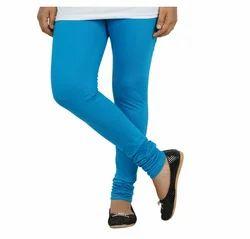 Plain Blue Colour Full Length Cotton Lycra Leggings