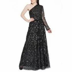 Black Designer Sequin Gown