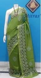 Party Wear Light Green Chanderi Silk Block Printed Saree, 6.5m ( with Blouse Piece )
