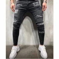 Denim Printed Mens Black Stretch Jeans, Waist Size: 30:32:34:36