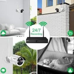 4 Channel HD WiFi NVR kit with 4X1080p HD Outdoor/Indoor Waterproof Wireless IP Security Cameras