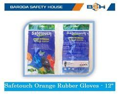 Latex SafeTouch Orange Industrial Rubber Gloves, Size: Free Size