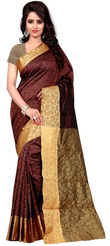 cbf07b06def21 Brown Bridal Wear Kanjivaram Cotton Silk Saree
