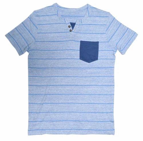 c8ebaddcb All Sizes Cobalt Marl / Denim Blue Stripes Mens Short Sleeve V Neck Tee  With Contrast