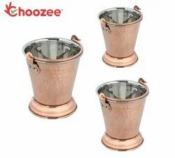 Choozee -Steel Copper Serving Bucket Set of 3 Pcs (400ML, 600ML and 800Ml)