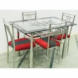 4 Seater Stainless Steel Dining Table Set