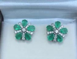 fa306edd6 Gold Earrings - 18k White Gold Emerald and Diamond Stud Earring ...