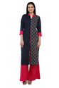 Cottinfab Women's Panelled Kurta with Contrast Palazzo