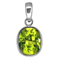 Natural Peridot Pendent Silver 916 Purity Hallmark Gemstone