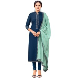 Rajnandini Navy Blue Chanderi Silk Embroidered Semi-Stitched Dress Material With Printed Dupatta