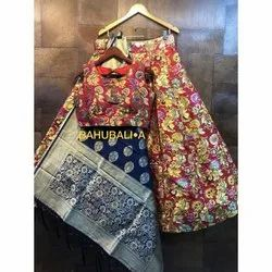 Stitched Banarasi Silk Ladies Pink Party Wear Banarasi Lehenga, With Blouse And Dupatta