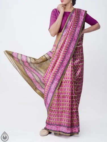 3efc142520 Pure Handloom Tussar Silk Saree With Block Prints With Blouse Piece ...