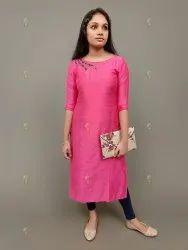 Silk Embroidered Ladies Long Cotton Kurti