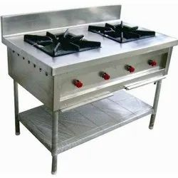 Two Burner Stainless Steel Commercial Gas Stove