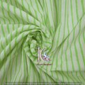 Green Small Stripe Block Print Cotton Fabric