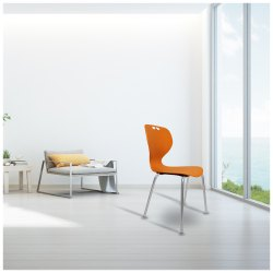 Orange Plastic Seat & SS Legs Apple Cafeteria Chair, 1 Year