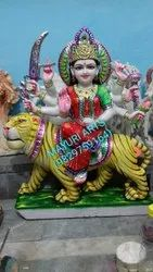 Painted Marble Durga Statue