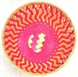 Pink And Natural Pink bamboo Round Basket