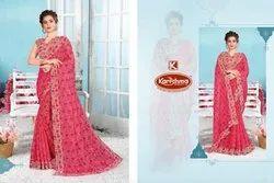 Printed Khadi Chiffon Saree - Real Me