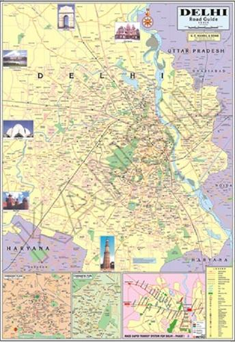 Multicolor Laminated Paper Delhi For Political State Map, Size ... on
