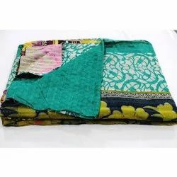 Reversible Cotton Kantha Quilt Indian Vintage Handmade Blanket