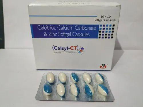 Calcitriol Calcium Carbonate and Zinc Softgel Capsules, Packaging Size: 10x10 Capsules