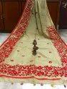 Ari Embroidery Work On Handloom Silk Cotton Saree, With Blouse Piece