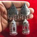 Traditional Religious Gayatri Mantra Silver Plated Jhumka