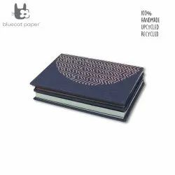 Navy Blue Accordion Style Journal/Notebook - Peach Zigzag Print