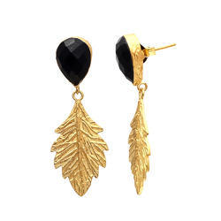 Hot Model Leaf Drop With Pear Top 925 Sterling Silver Gold Plated Gemstone Earring