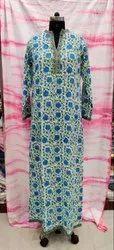 Cotton Casual Wear Long Block Print Full Sleeves Kurti, Handwash