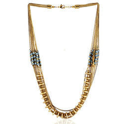 Golden Artificial Indian Fashion Necklace