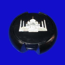 Coasters Set With Taj Mahal Inlay Work