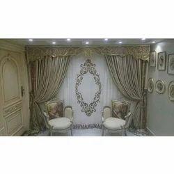 Golden Silk Designer Wall Curtains