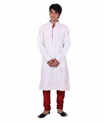 79453e6aeb White Silk Larwa Men's Piping Kurta Pyjami Set_White, Rs 695 /piece ...