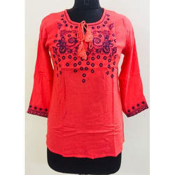 Ladies Red Front Keyhole Top