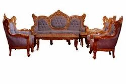 Brown Square Wood Sofa Top Carving for Home