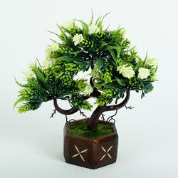 Wooden Potted Artificial Flower Plant