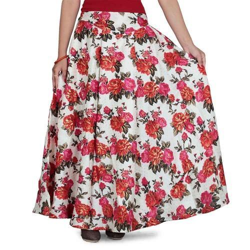 8e6fe54fa3 Long Large Floral Printed Silk Skirt, Rs 670 /piece, Wemenz Vestures ...
