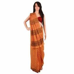 Saffron Block Printed Cotton Sarees