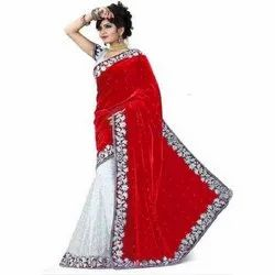 Party Wear Embroidered Ladies Designer Velvet Saree, 6.3 m