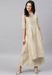 Unstitched Ivory Ladies Chanderi Silk Suits, Machine wash